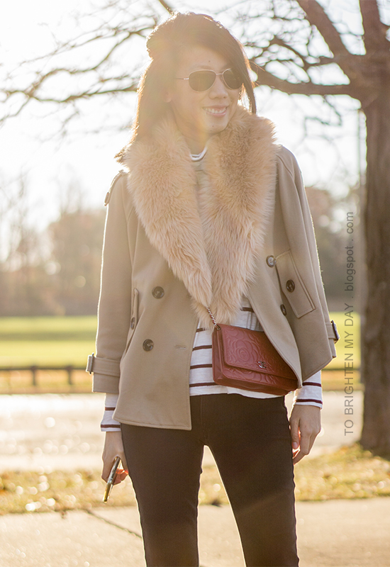 faux fur scarf, camel trench cape, striped turtleneck, red crossbody bag, black skinny pants