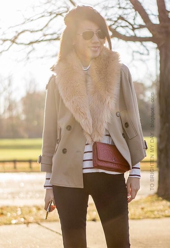 faux fur scarf, camel trench cape, striped turtleneck, red crossbody bag, black skinny pants