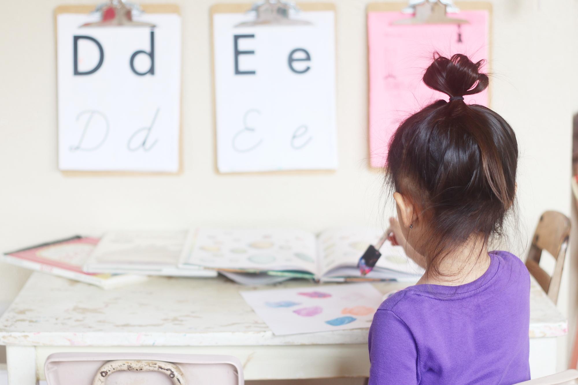 learning letter e