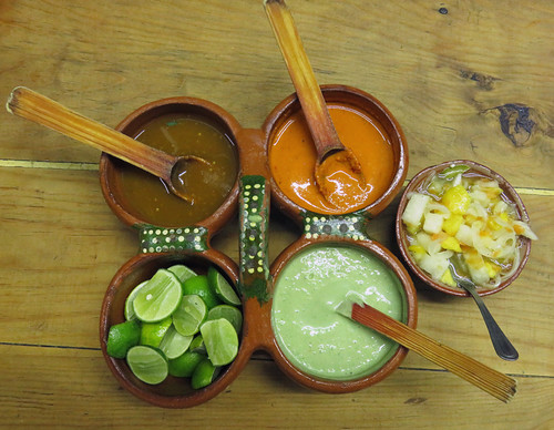 4 Salsas & Limes at Panchos Takos in Puerto Vallarta, Mexico
