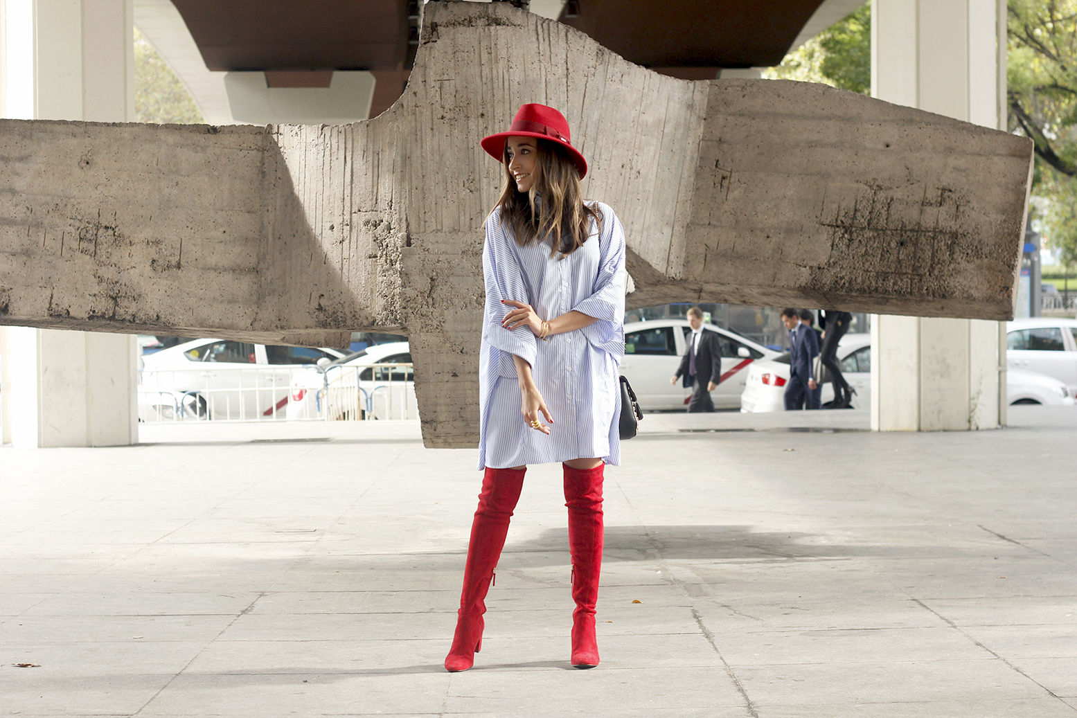 striped dress red over the knee boots red hat accessories fashion outfit style autumn12