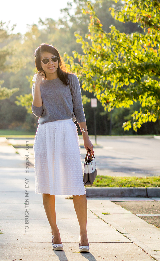 gray button back sweater, white clip dot midi skirt, colorblocked tote, striped espadrille wedges