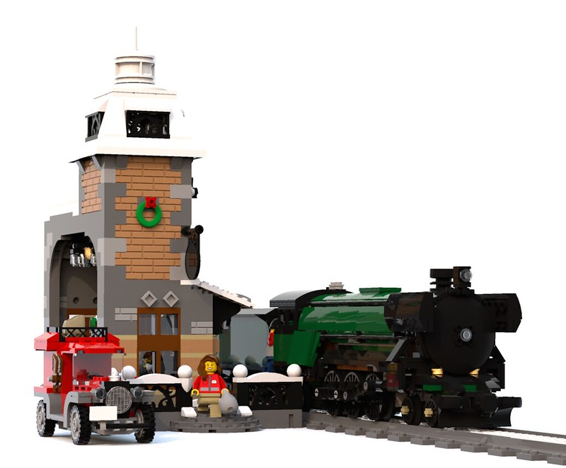 Lego Moc 5989 Winter Village Train Station Seasonal