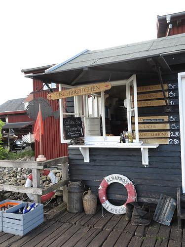 Fischbrötchenbude im Museumshafen in Flensburg