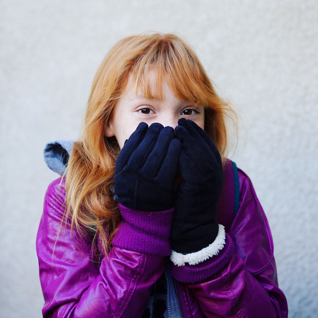 So Cold she needs gloves