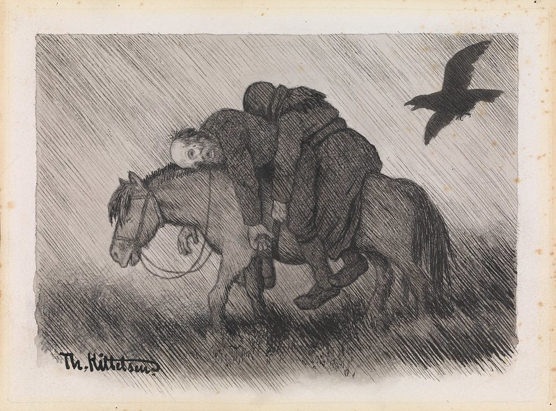 Theodor Kittelsen - Illustration of the Black Death (She wanders around the country.), 1900