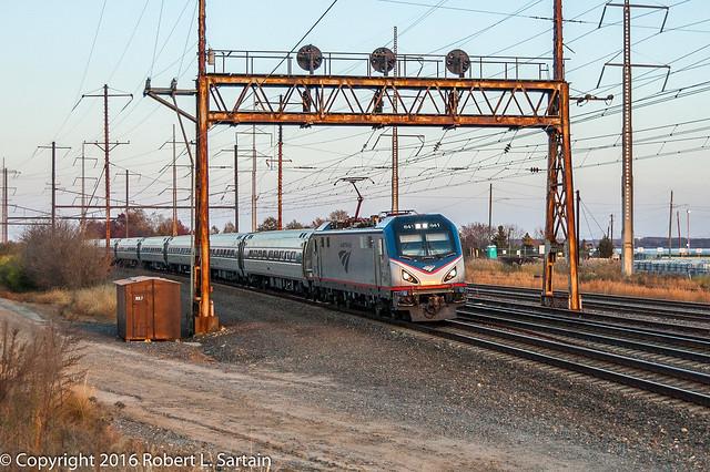 Amtrak 641 on 161, Edgemoor, 2016-11-19
