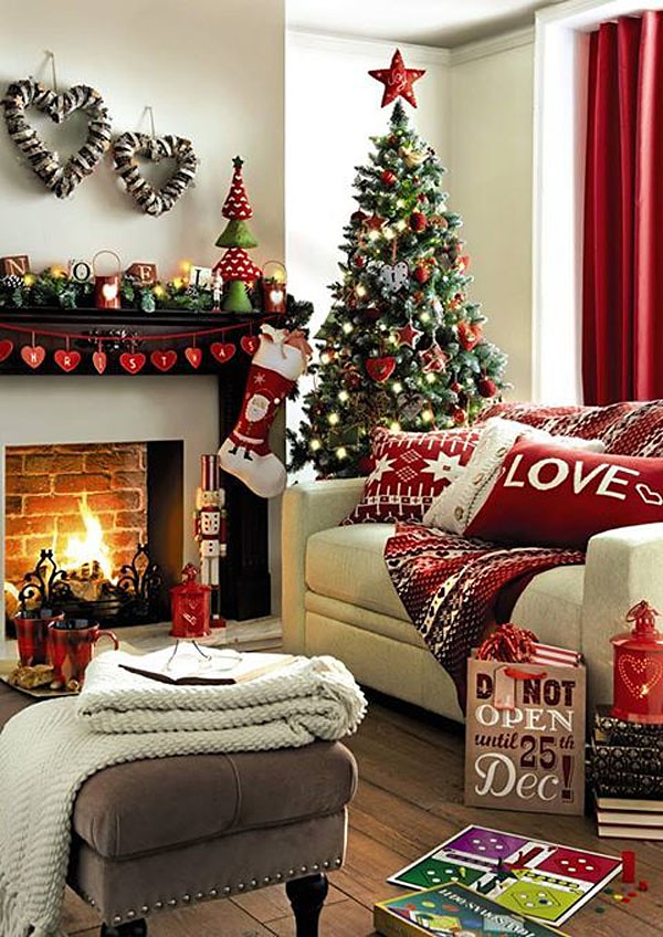 Christmas Living Room Decorations Pillows Fireplace Tree
