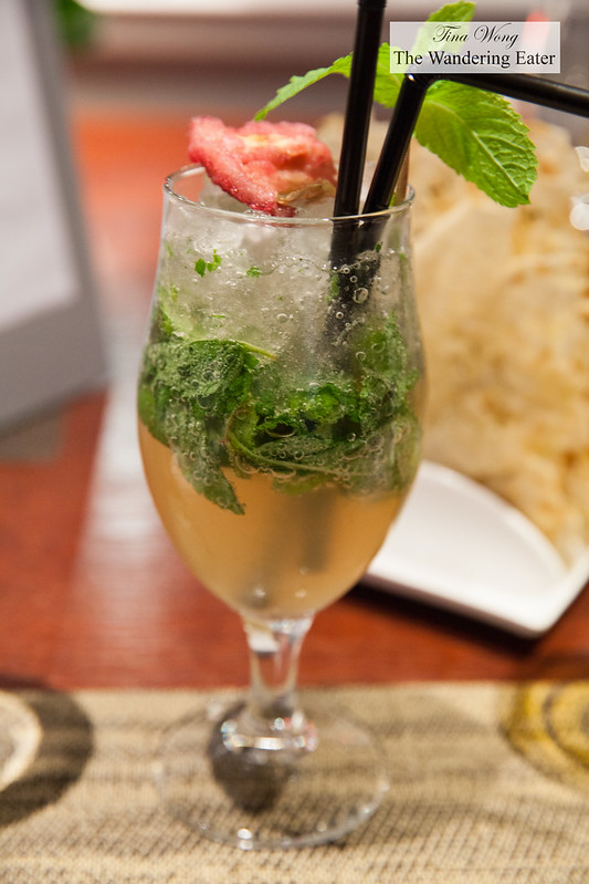 Non-alcoholic drink of strawberries and basil soda