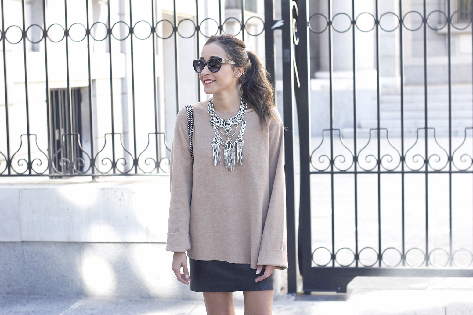 nude sweater leather skirt heels sunnies gucci bag fashion outfit style08