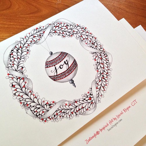 Zentangle-Inspired Art Holiday Greeting Cards by Laurel Regan, CZT