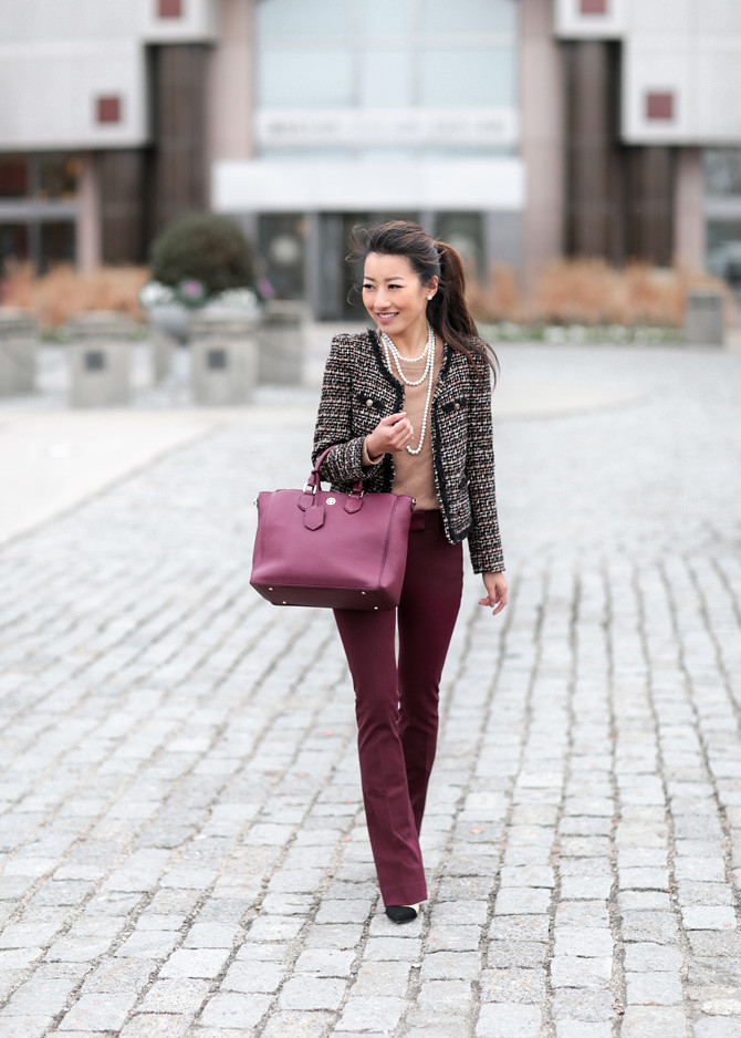 white house black market petite burgundy pants