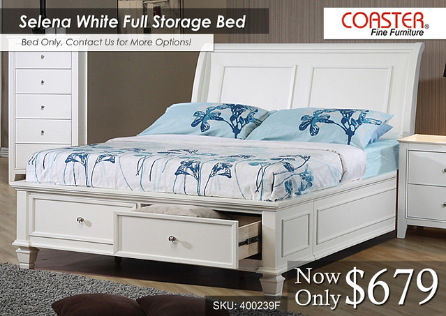 Selena White Full Storage Bed -- COA-400239F