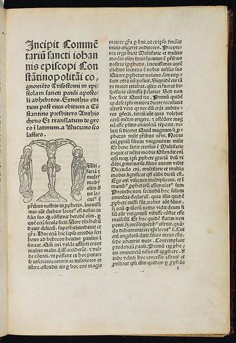 Johannes Chrysostomus: Commentarius in epistolam Sancti Pauli ad Hebraeos - Title incipit and woodcut initial