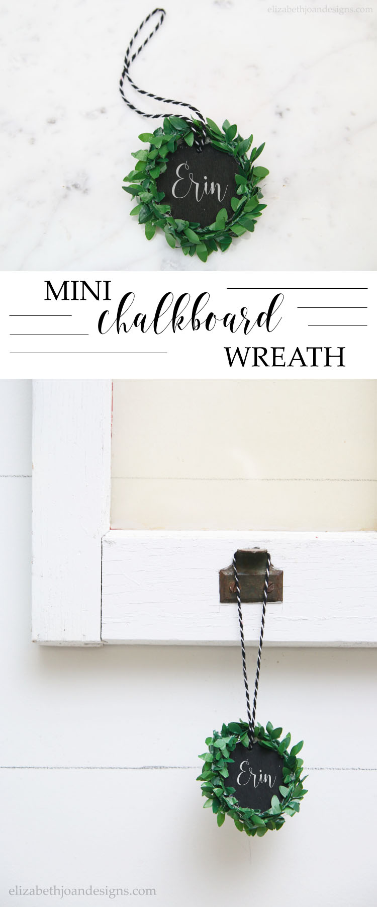 Mini Chalkboard Wreath Ornament a great 5 minute craft that makes for a great Chrsitmas decor or a gift tag