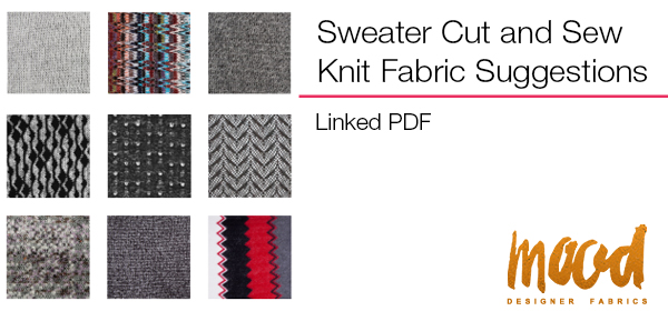 Sweater Cut and Sew Knit Fabric Suggestions