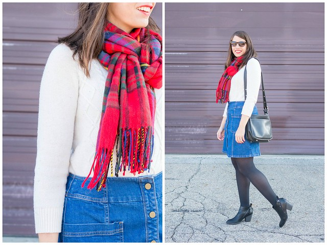red plaid scarf + cream cable knit sweater + black tights + black ankle boots + jean denim skirt; winter casual outfit | Style On Target blog