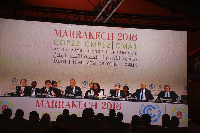 The podium at openning plenary COP22