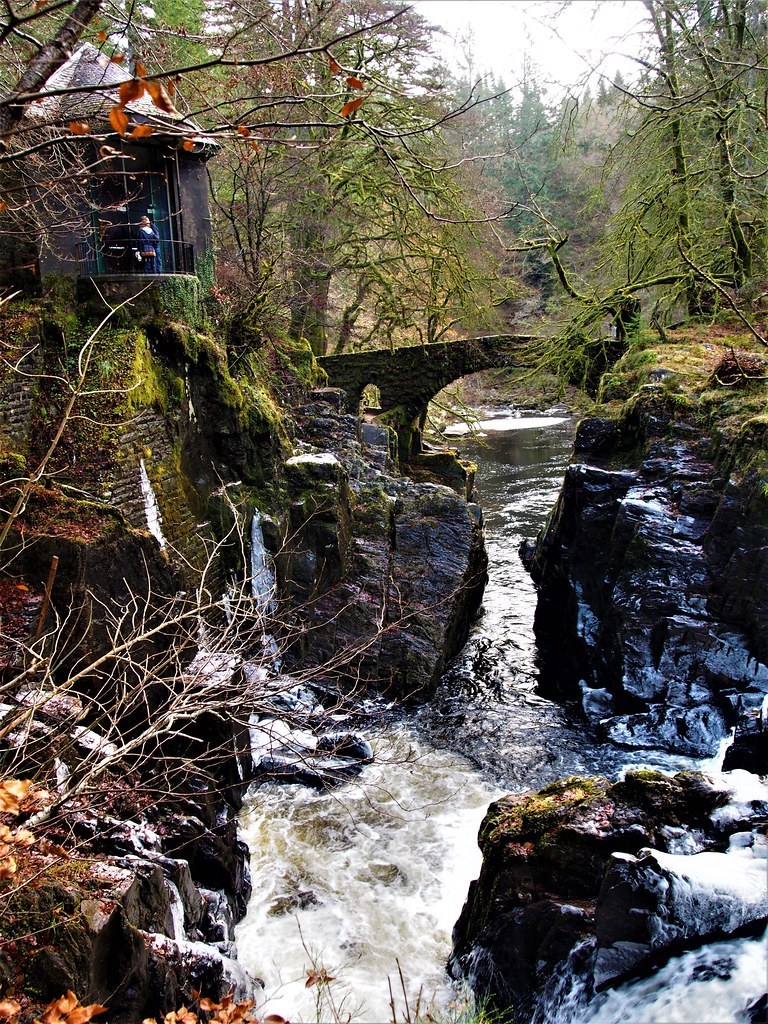 Ossian's Hall (top left) at Falls of Braan, Dunkeld, Scotland.