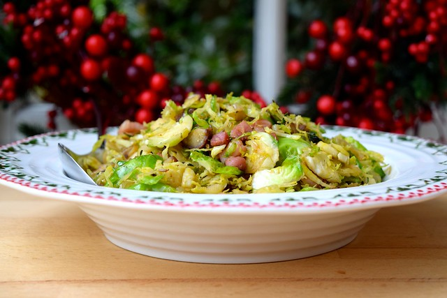 Sprouts with Bacon, Chestnuts & Caraway Seeds   www.rachelphipps.com @rachelphipps