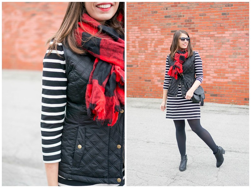 black white stripe dress + black vest + black tassel crossbody purse + black and red buffalo plaid scarf |Style On Target blog