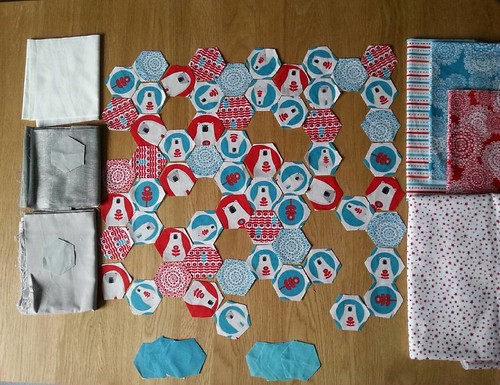 #Christmascushionalong options for the gaps: white hexies (probably some with an embroidered snowflake on), shiny grey (it has a bit of rayon in it so gives a subtle sparkle in the right light), plain grey, stripes, teal snowflakes, red snowflakes, red/wh