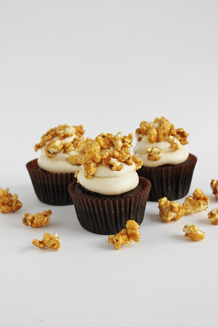 gluten free dairy free salted caramel popcorn cupcakes