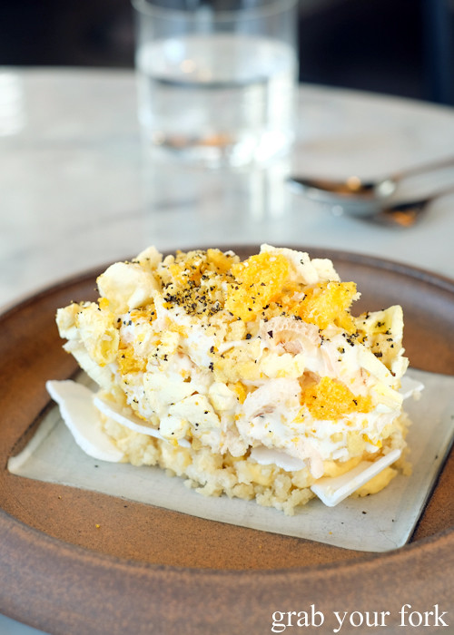 Magnolia ice cream, passionfruit and almond meringue at Cirrus Dining at Barangaroo Sydney