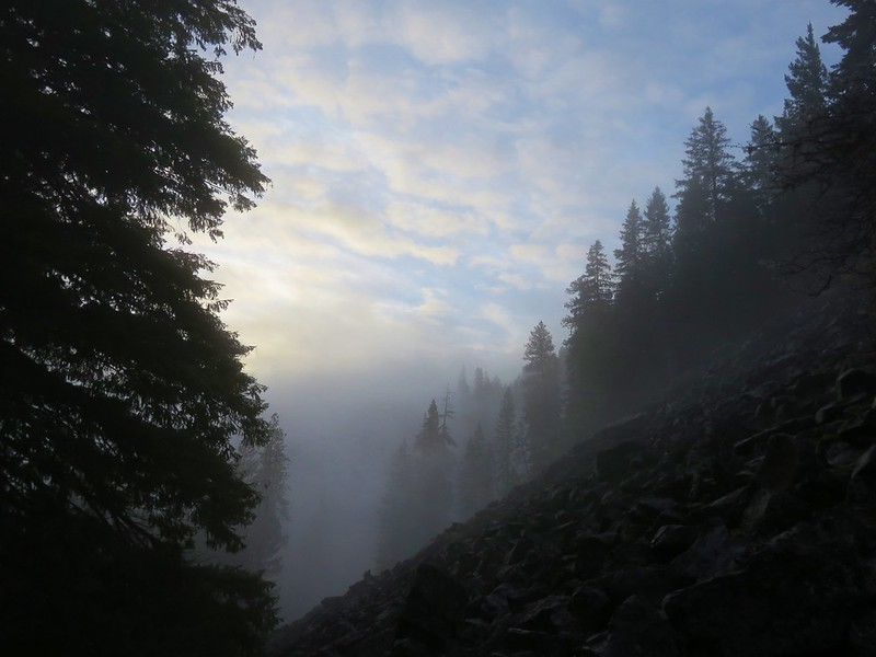 Fog and a little blue sky over the talus slope along the Camas Trail