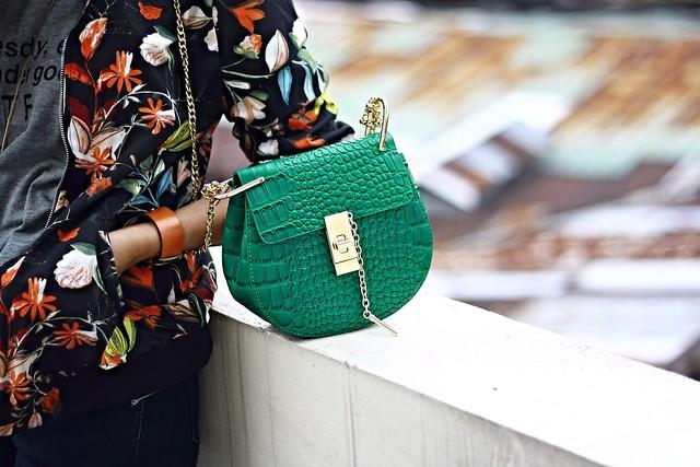 crossbody bag, chloe inspired bag, zara jacket, green bag