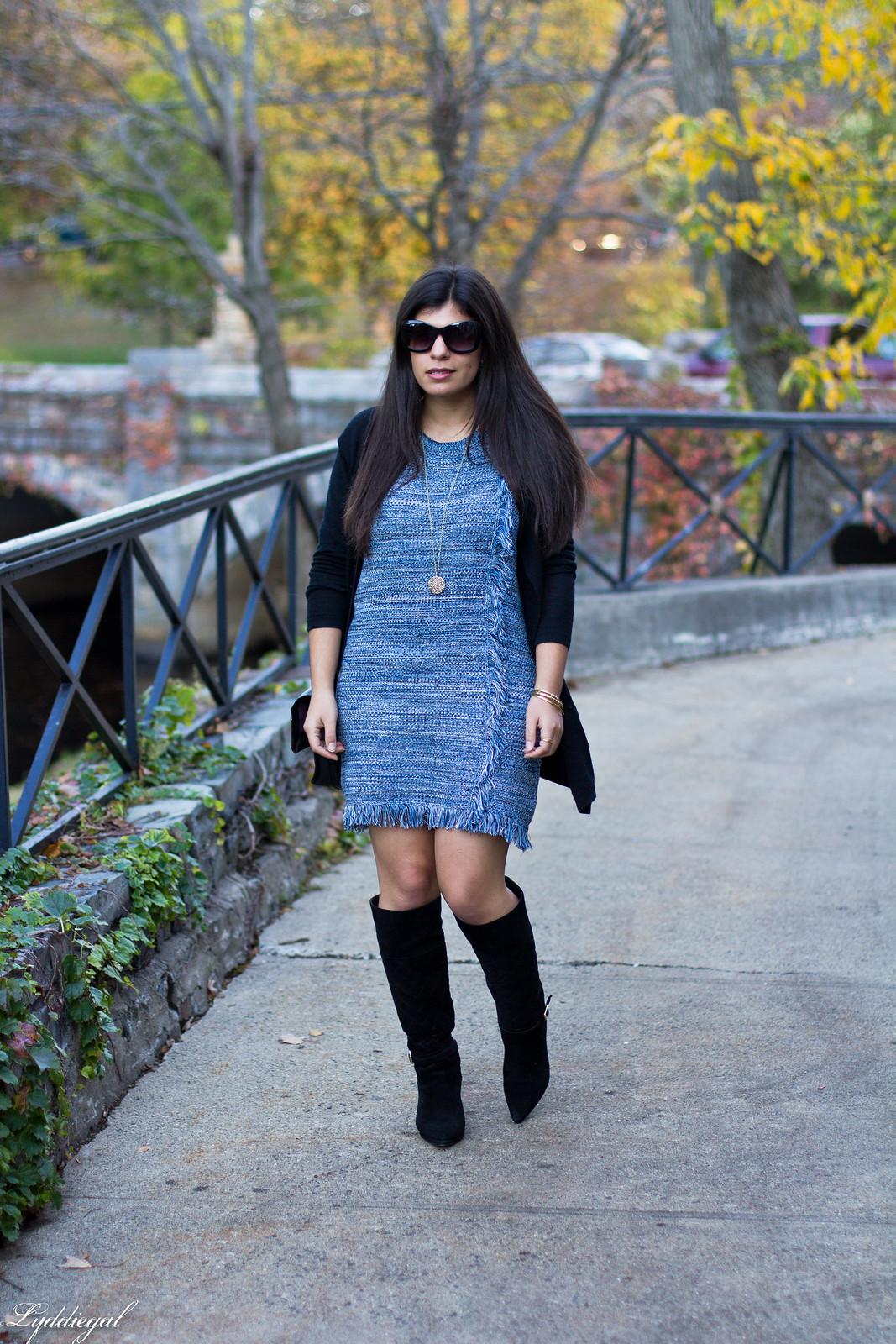 blue knit dress, black cardigan, black suede boots-3.jpg