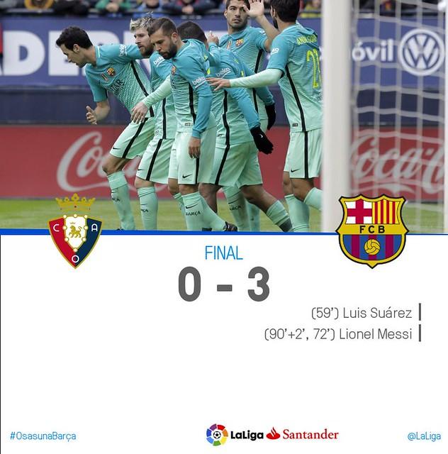 La Liga (Jornada 15): Osasuna 0 - FC Barcelona 3