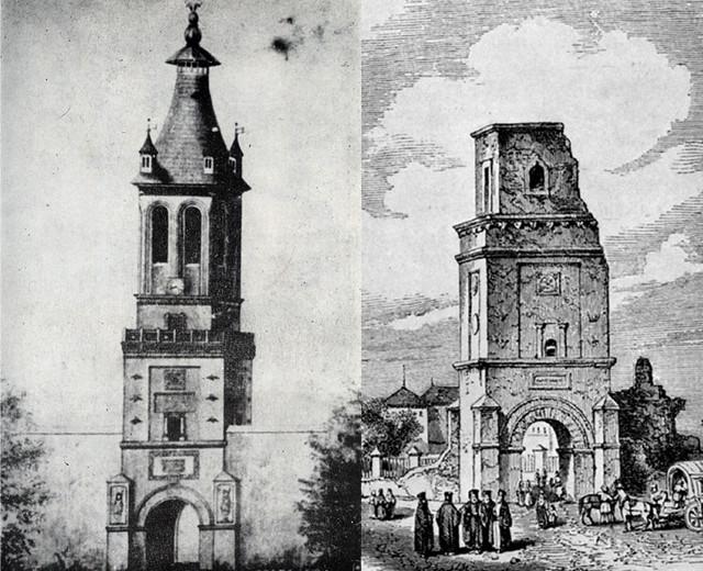 Turnul Coltei inainte si dupa cutremurul din 26 octombrie 1802 (sursa foto: Wikipedia)