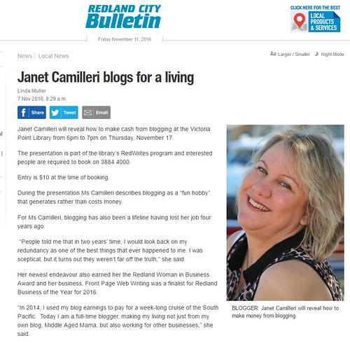 Redland City Bulletin story November 2016