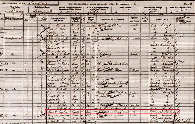 Charles C b1866 Pboro 1901 census Hornsey