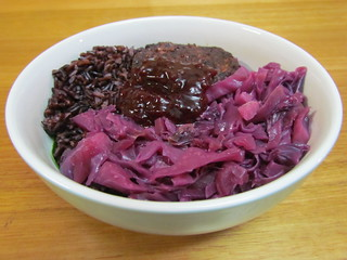German Red Cabbage with Black Rice, Beetroot and Black Bean Burger, Beetroot Relish