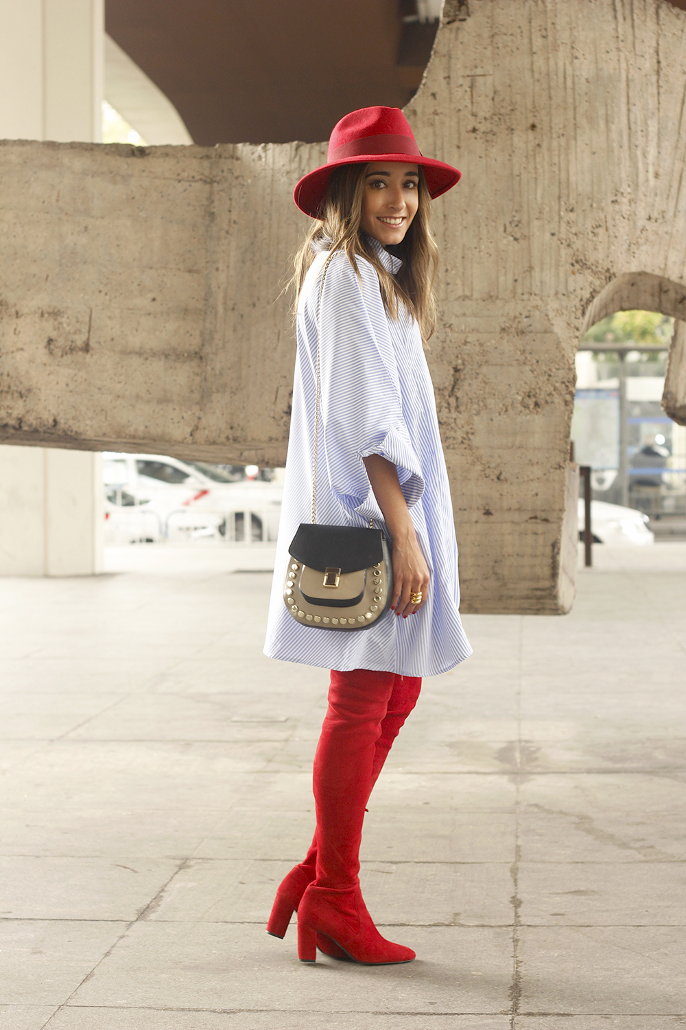 striped dress red over the knee boots red hat accessories fashion outfit style autumn05