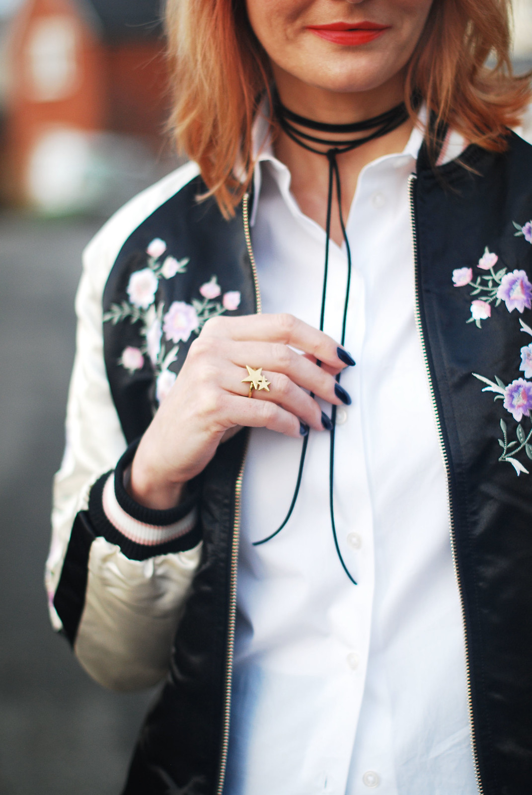 Smart casual weekend wear \ floral embroidered bomber jacket \ emerald green peg leg trousers \ black block heel shoes \ white shirt \ black tie-up choker necklace | Not Dressed As Lamb, over 40 style
