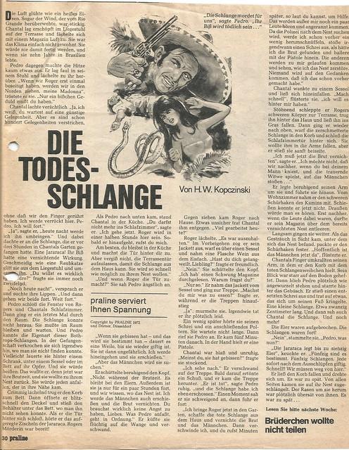 H.W. Kopczinski: Die Todesschlange, Hamburg: praline 1972