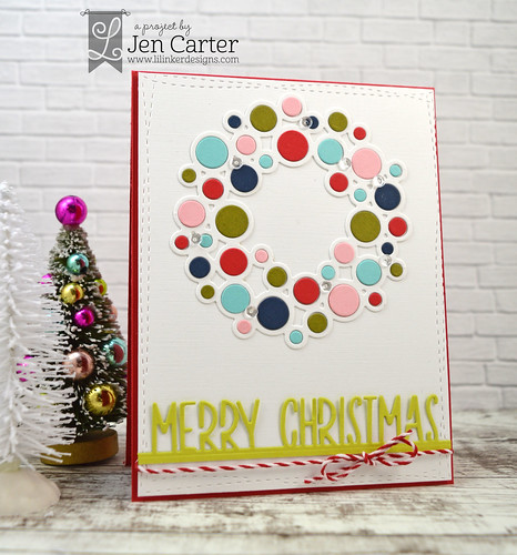 Jen Carter Baubled Wreath Merry Christmas Border wm