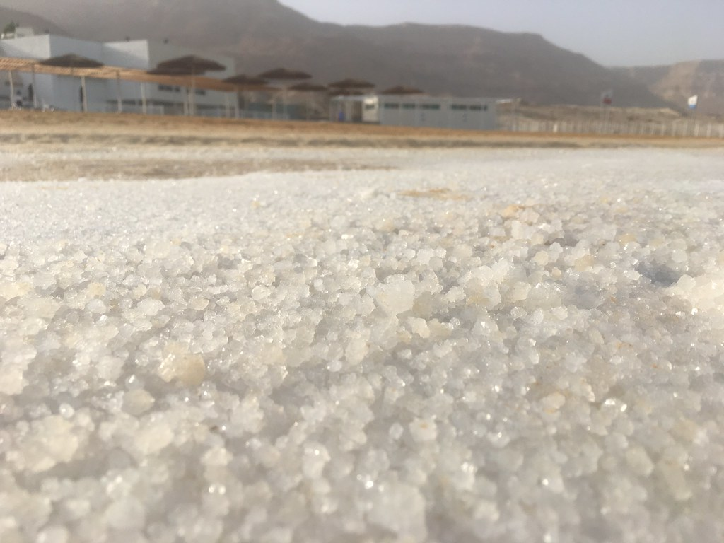 Dead Sea beach filled with salts, of course :)