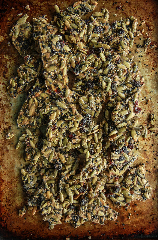 Spiced Sesame Pumpkin Seed Cranberry Brittle- (Vegan) from HeatherChristo.com