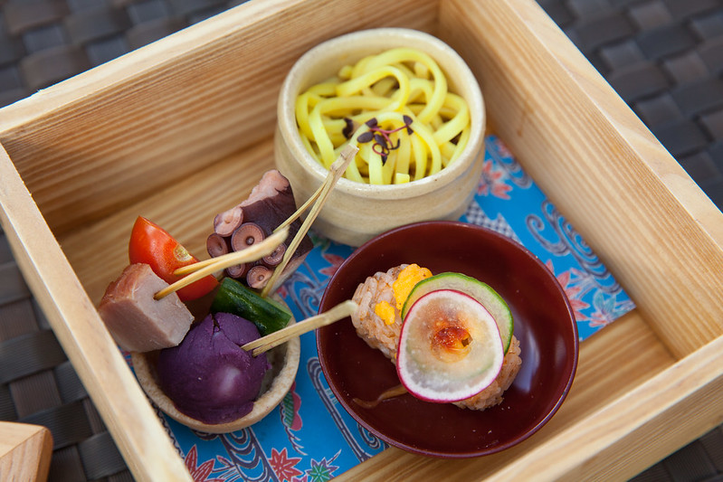 Miniature versions of classic Okinawa dishes - Taco rice, soba (made with tumeric - not traditional) and skewers of steamed ham, purple potato and octocus