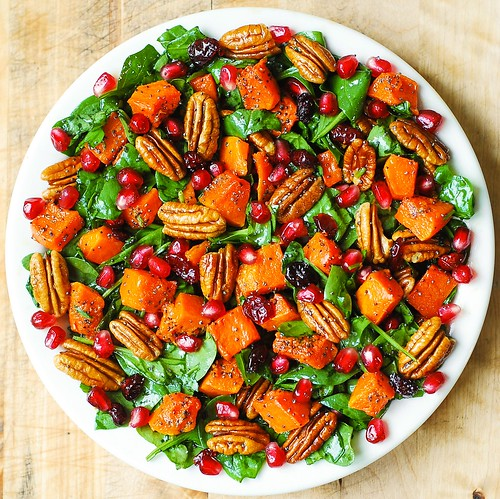 Butternut Squash & Spinach Salad with Pecans, Cranberries, Pomegranate