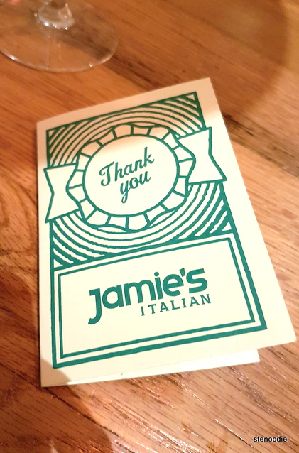 Jamie's Italian thank you card