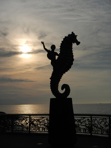 Seahorse sculpture on the Malecon in Puerto Vallarta, a beach resort on Mexico's Pacific coast