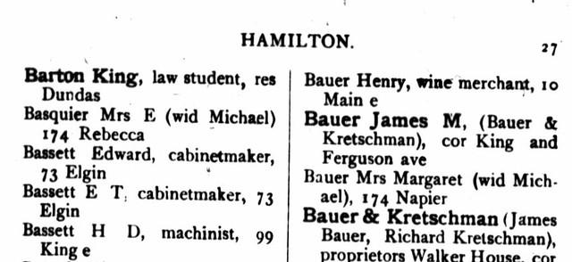 Directory City of Hamilton 1884