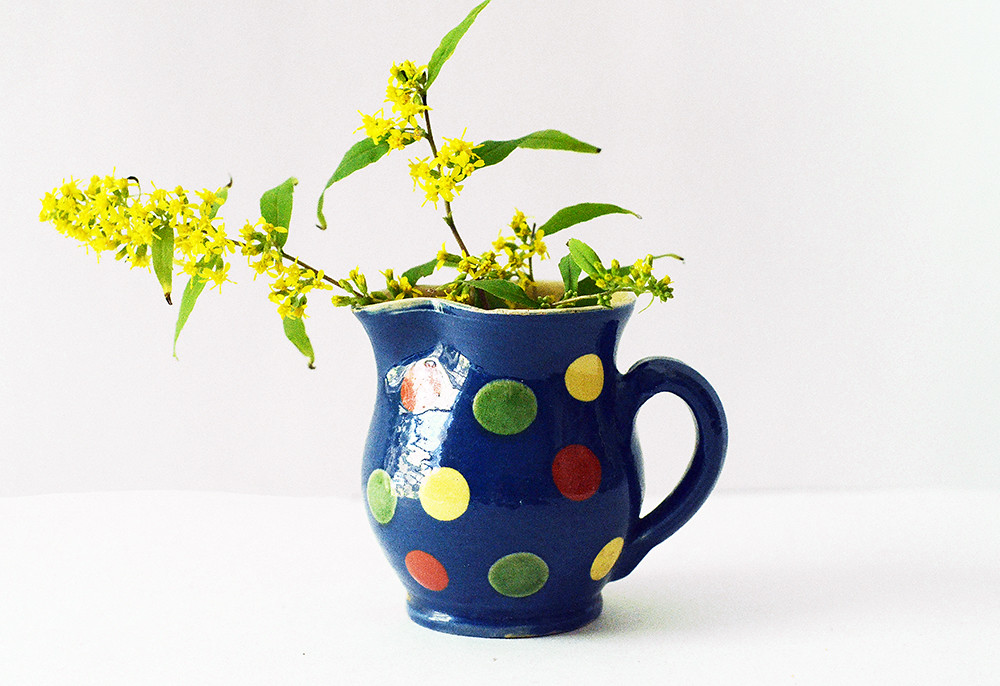 Small Vintage Blue Pitcher with Polka Dots