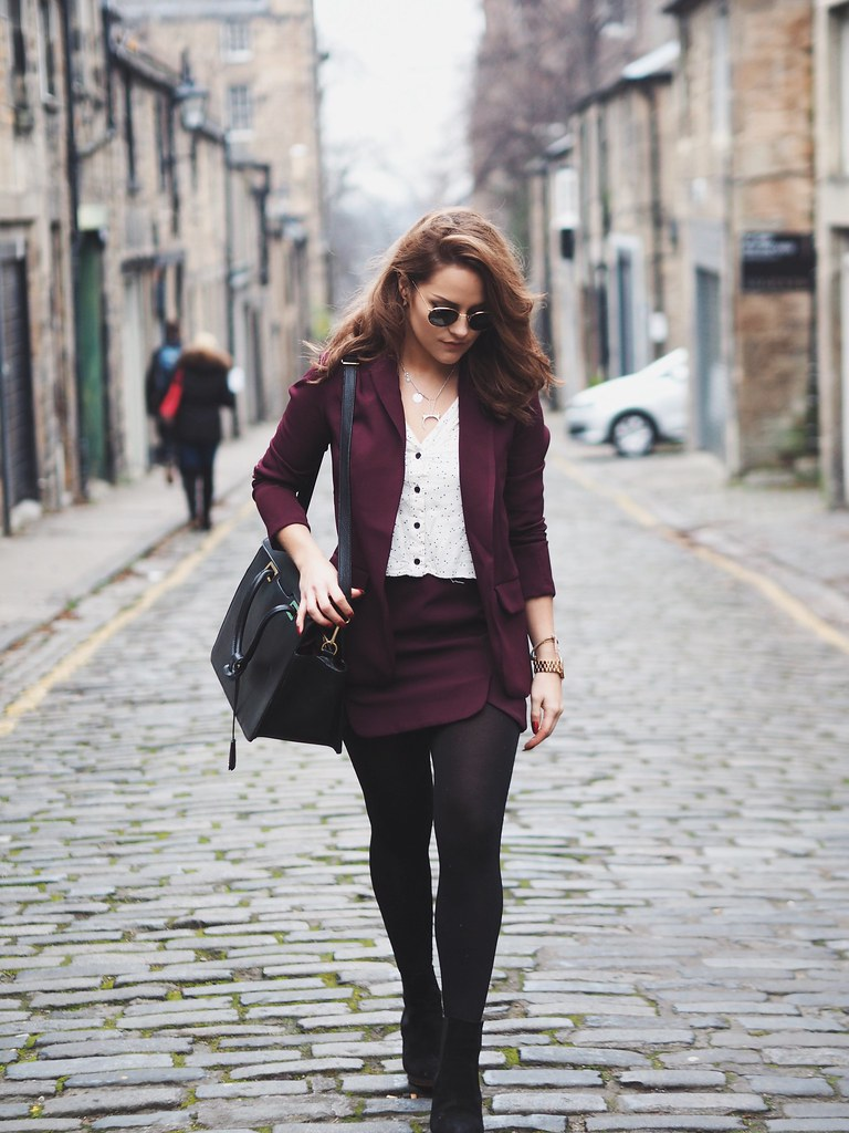 The Little Magpie Petite Burgundy Skirt Suit