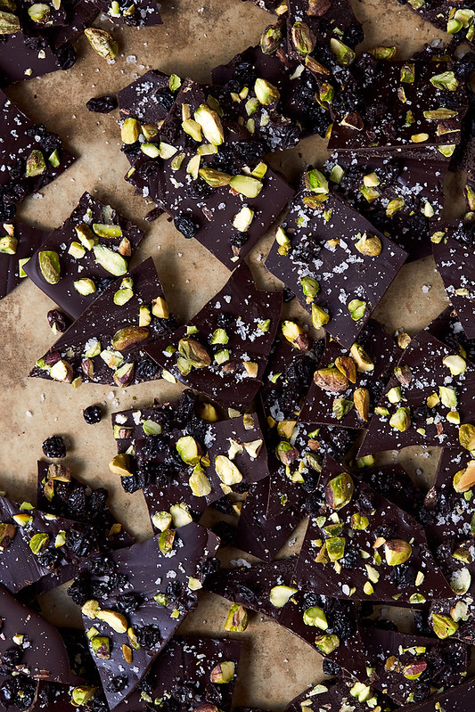 Winter Spiced Dark Chocolate Bark with Smoked Sea Salt